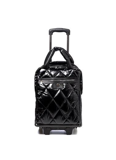 TH Bags TH Bags TH270000 Baklava Desenli Rugan Kadın Valiz Siyah